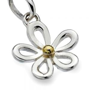 Pretty Sterling Silver and Brass Daisy Pendant