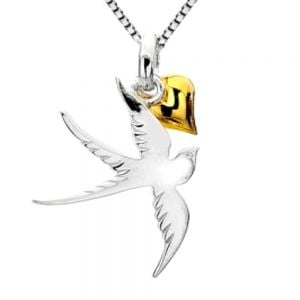 Sterling Silver Swallow Pendant with Dangly Gold Heart