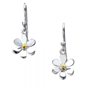 Simple Sterling Silver and Brass Daisy Drops