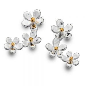 Gorgeous Sterling Silver Jewellery: Triple Daisy Stud Earrings with Brass Dot Details (E682)