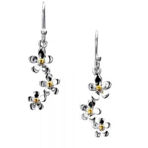 Sterling Silver Triple Daisy Drop Earrings