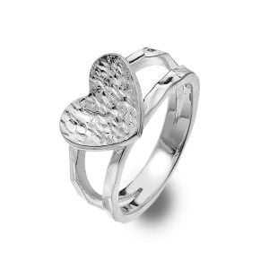 Contemporary Sterling Silver: Chunky Hammered Heart Ring with Double Band