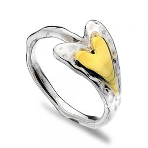 Sterling Silver and Brass Sideways Heart Ring