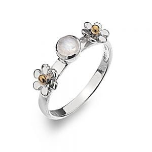 Beautiful Sterling Silver Jewellery: Daisy and Moonstone Ring with Brass Details
