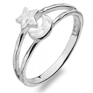Unusual Sterling Silver: Beautiful Ring with Hammered Crescent Moon and Star