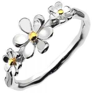 Sterling Silver and Gold Triple Daisy Ring