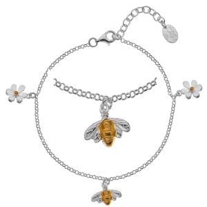 Gorgeous Sterling silver and Gold Bee And Daisy Charm Bracelet