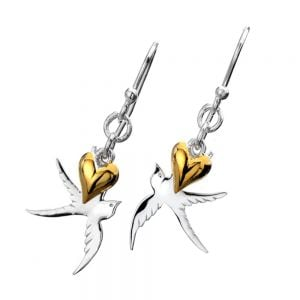 Sterling Silver Jewellery: Swallow Earrings with Dangly Gold Heart