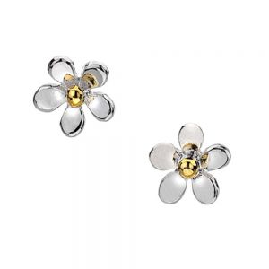 Silver and Gold Tiny Daisy Studs sterling silver 925 jewellers in york