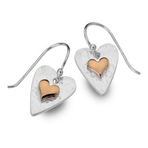 Stunning Sterling Silver Jewellery: Hammered Silver and Rose Gold Heart Earrings (Full Drop 20mm) (E109)