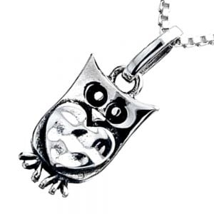 Owl and Heart Pendant in Sterling Silver