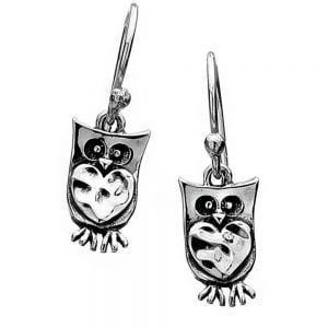 Sterling Silver Owl and Heart Drops