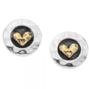Sterling Silver and Brass Heart Studs