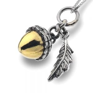 Sterling Silver Jewellery:   and Brass Acorn Pendant, sterling silver jewellery UK