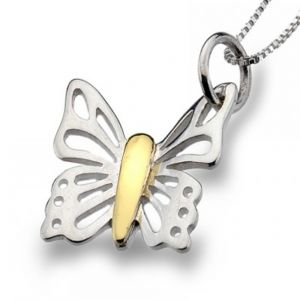 Sterling Silver and Gold Butterfly Pendant