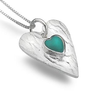 Sterling Silver Heart with Turquoise Inner Heart