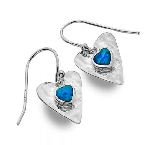 Sterling Silver Jewellery: Hammered Heart Earrings With Blue Opal Inner Hearts