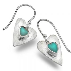 Sterling Silver Heart Drops with Turquoise Inner Heart