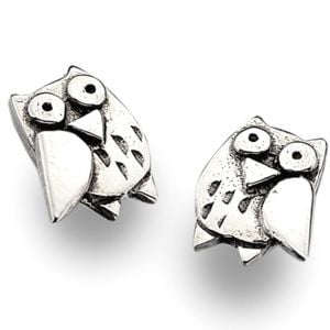 Cute Sterling Silver Owl Studs