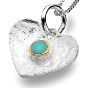 Pretty Sterling Silver Heart Pendant with Turquoise Dot