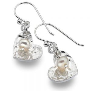 Sterling Silver Hammered Heart and Freshwater Pearl Earrings