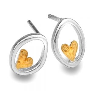 Oval Sterling Silver and Gold Heart Stud Earrings