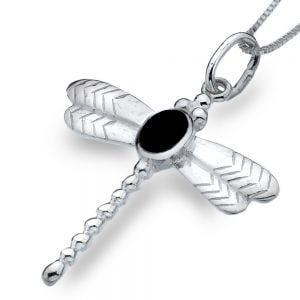 Sterling Silver Jewellery: Textured Dragonfly Pendant With Onyx Stone Detail