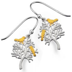 Sterling Silver and Gold Tree Earrings with Birds
