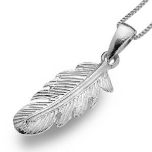 Small Sterling Silver Textured Feather Pendant