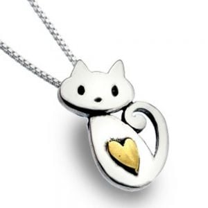 Cute Sterling Silver and Gold Cat with Heart Pendant