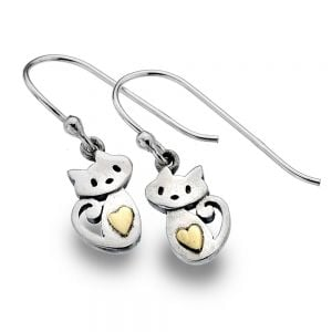 Sterling Silver Jewellery:  Silver and Gold Sitting Cats And Heart Dangly Earrings