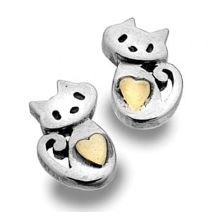 Sterling Silver and Gold Cat with Heart Earrings