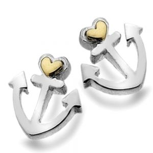 Sterling Silver Anchor Studs with Gold Heart