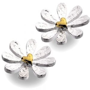 Sterling Silver and Gold Heart Daisy Stud Earrings