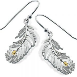 Peacock Feathers In Sterling Silver And Gold