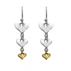 Sterling Silver and Gold Triple Heart Drops