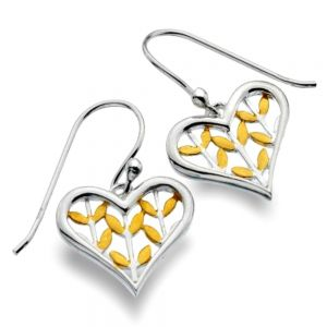 Sterling Silver and Gold Leaf Design Heart Drops