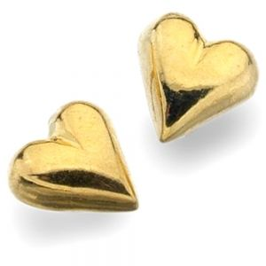 Gold-Plated Sterling Silver Simple Heart Stud Earrings