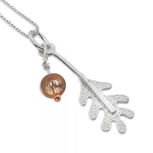 Sterling Silver Jewellery: Oak Leaf Pendant With Rose Gold Acorn Cup