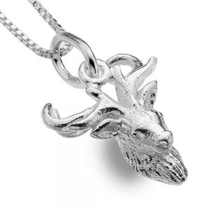 Quirky Sterling Silver Jewellery: Textured Stag Head Pendant