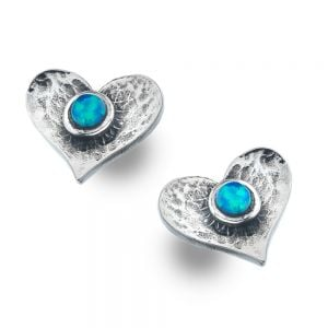Sterling Silver Jewellery: Hammered Heart Studs with Blue Opal Dots