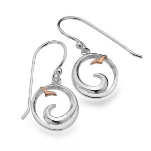 Sterling Silver Jewellery: Ocean Wave and Rose Gold Seagull Drop Earrings