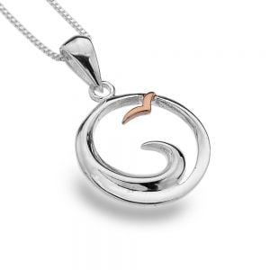 Sterling Silver Jewellery: Ocean Wave and Rose Gold Seagull Pendant