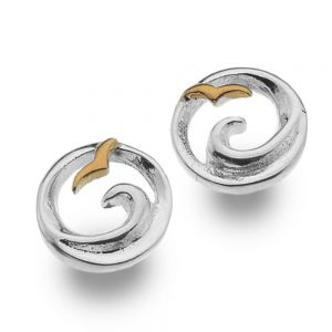 Sterling Silver Jewellery: Ocean Wave and Rose Gold Seagull Stud Earrings
