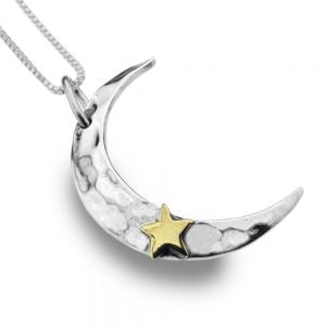 Sterling Silver Jewellery: Hammered Crescent Moon Pendant with Brass Star Detail