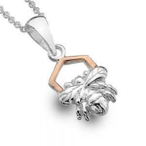 Gorgeous Sterling Silver Jewellery: Little Silver Bee and Rose Gold Honeycomb Pendant
