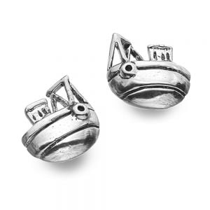 Whimsical Sterling Silver Jewellery: Cute Fishing Boat Stud Earrings (E316)