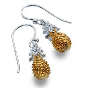 Kitsch Sterling Silver Jewellery: Silver and Gold Pineapple Dangly Earrings