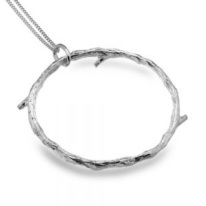 Striking  Sterling Silver Jewellery: Large Bark-Textured Twig Circle Pendant