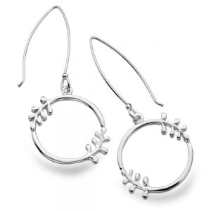 Beautiful Sterling Silver Jewellery: Leaf Frond-Detail Circle Earrings with Long Hooked Backs